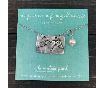 The Vintage Pearl A Piece of My Heart is in Heaven Necklace