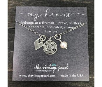 The Vintage Pearl My Heart Belongs to a Fireman Necklace