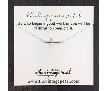 The Vintage Pearl He is Faithful to Complete It Necklace (sterling silver)