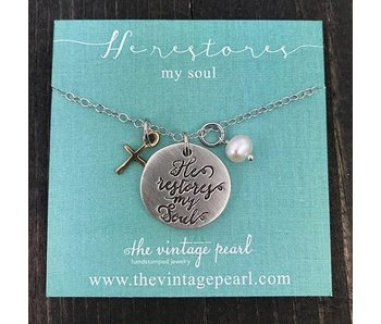 The Vintage Pearl He Restores My Soul With Cross Necklace