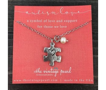 The Vintage Pearl Autism Love Necklace