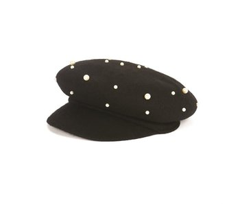 Coco & Carmen Feminine Trucker with pearls black hat