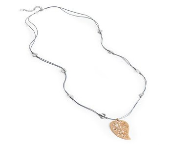 Coco & Carmen Gold & Grey leaf necklace