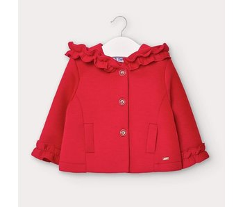 Mayoral Mayoral Knitted red hooded baby girl jacket -size 6M