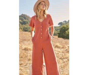 Promesa Promesa Linen-blend woven jumpsuit -Terracotta