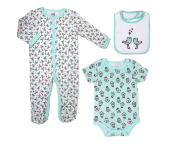 Baby Mode 3 PC Sleeper Set -Birds