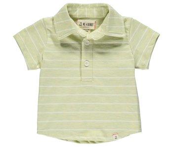 Me & Henry Me & Henry Lime/White stripe polo shirt