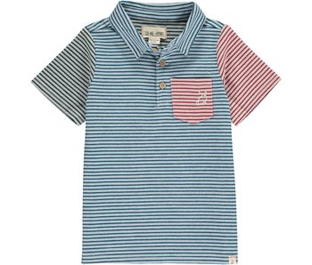 Me & Henry Me & Henry Navy Multi Stripe woven polo size 5-6Y