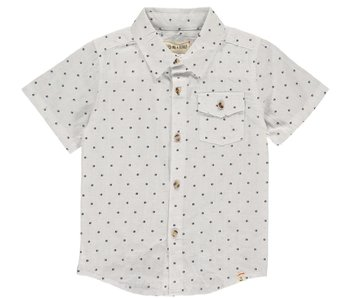 Me & Henry Navy dot s/s white shirt