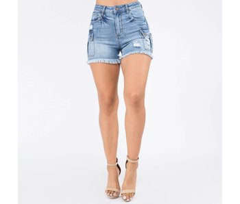 American Bazi High Rise Cargo Denim Shorts