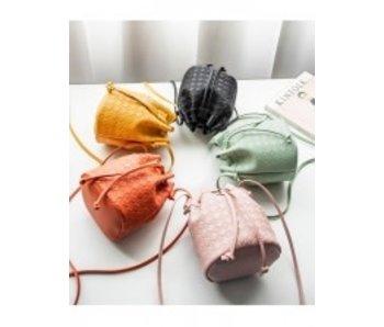 Drawstring mini buckle bag
