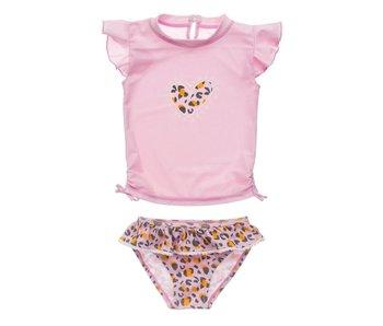 Snapperrock Leopard Love SS Ruffle Set Girls Swimsuit