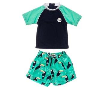 Snapperrock Toucan Talk baby swimsuit set