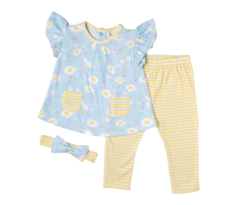 Mini Mei 3 PC Legging set -Yellow Floral
