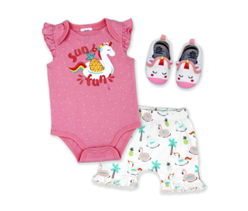 Baby Mode 3 Pc short set with shoes -Sun & Fun Unicorn