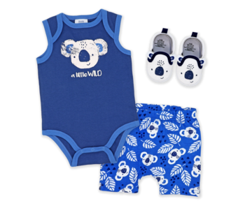 Baby Mode 3 Pc short set with shoes -A little wild