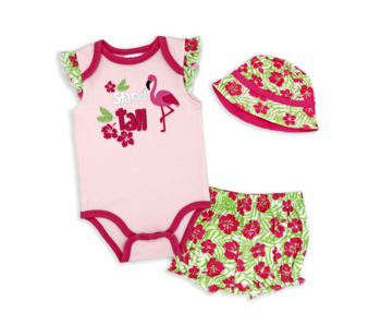 Baby Mode 3 Pc short set with sunhat -Stand Tall -Flamingo