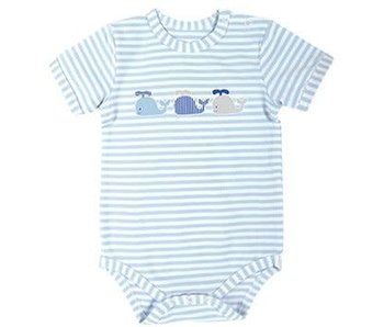 Stephan Baby Stephan Baby blue stipe with whales snapshirt onesie -size 0-3M