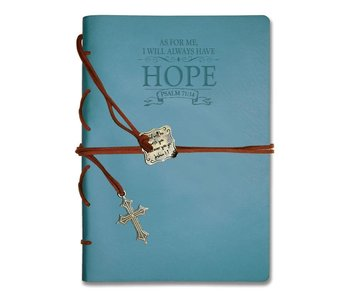Divinity Leather Wrapped Journal -Dusty Blue, Hope