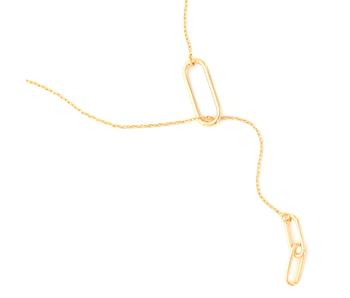 Maya J Big Chain link lariat paper clip necklace