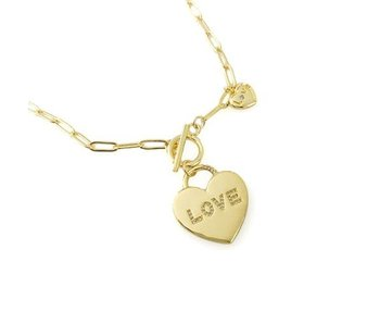 Maya J Paperclip Chain Necklace with Love Heart