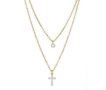 Maya J 14k Gold Plated Cross Double Layered Necklace