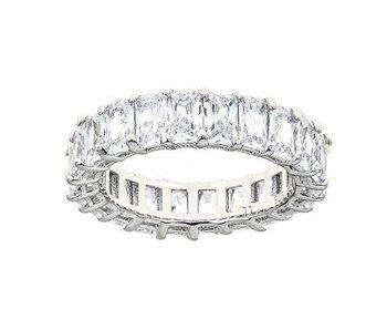 Maya J White Diamond CZ Emerald Cut Eternity Ring