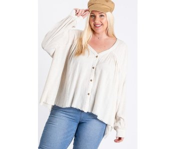 EE:Some Plus size pleated button down long sleeve top