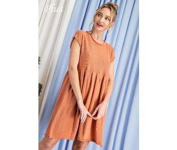 EE:Some Plus size knit babydoll dress
