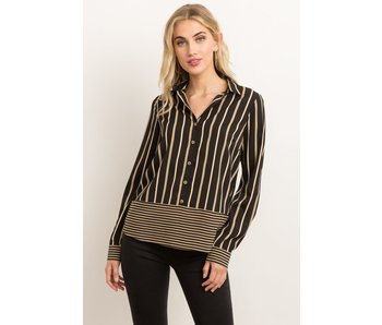 Hem and Thread Mixed stripe button down blouse