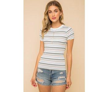 Hem and Thread Multi stripe round neck sweater