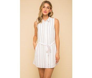Hem and Thread Hem & Thread belted stripe mini dress