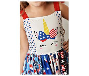 Oopsie Daisy Unicorn 4th of July dress -size 3T