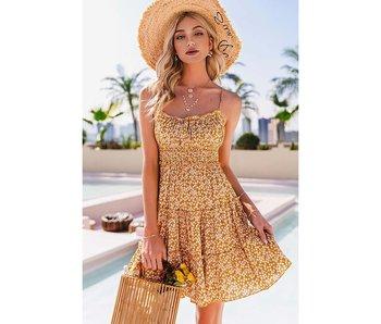 Esley Floral Sun dress in mustard