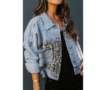 Esley Leopard Splicing Denim Jean Jacket