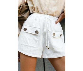 Esley High Waist Flap Pocket Drawstring Shorts