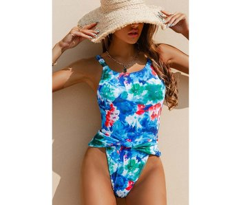 Esley Floral Print One Piece Swimsuit