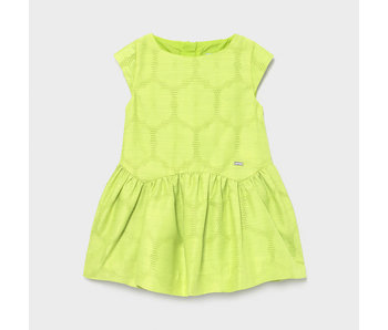 Mayoral Mayoral Girls Jacquard Pistachio dress with floral design -size 4