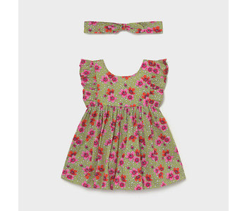 Mayoral Mayoral baby girls green and pink floral dress with headband -size 6M