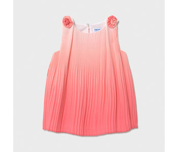 Mayoral Mayoral pleated coral baby girl dress -size 6M