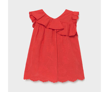 Mayoral Mayoral Embroidered red ruffle dress -size 6M