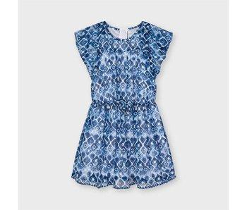 Mayoral Mayoral Chiffon navy blue printed dress -Size 4