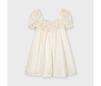 Mayoral Mayoral puff sleeve off white dress -size 4