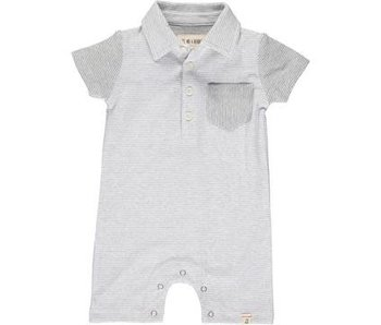 Me & Henry Me & Henry grey/white striped polo romper -size 18-24M