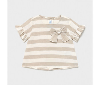 Mayoral Mayoral 2 Pc set Striped linen ruffled top with cropped linen pants -size 6M
