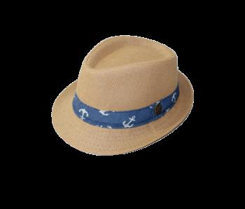 Yumi Boys Fedora wheat hat with anchors