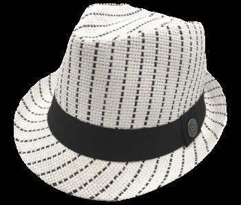 Yumi Boys Fedora white with black stripes