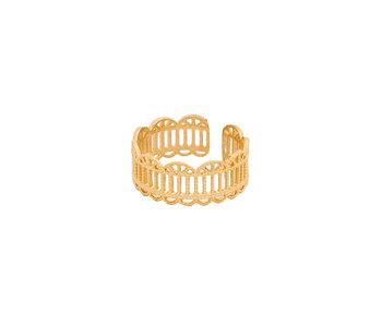 Secret Box 14KT Gold Dipped Geometric Filigree Ring