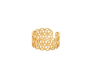 Secret Box 14KT Gold Dipped Orbit Filigree Ring