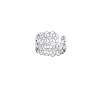 Secret Box 24KT White Gold Dipped Orbit Filigree Ring